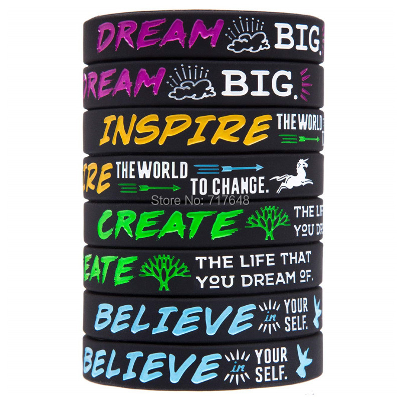 300pcs Motivational Inspirational Quote Dream Inspire Create Believe wristband silicone bracelets free shipping by FEDEX A