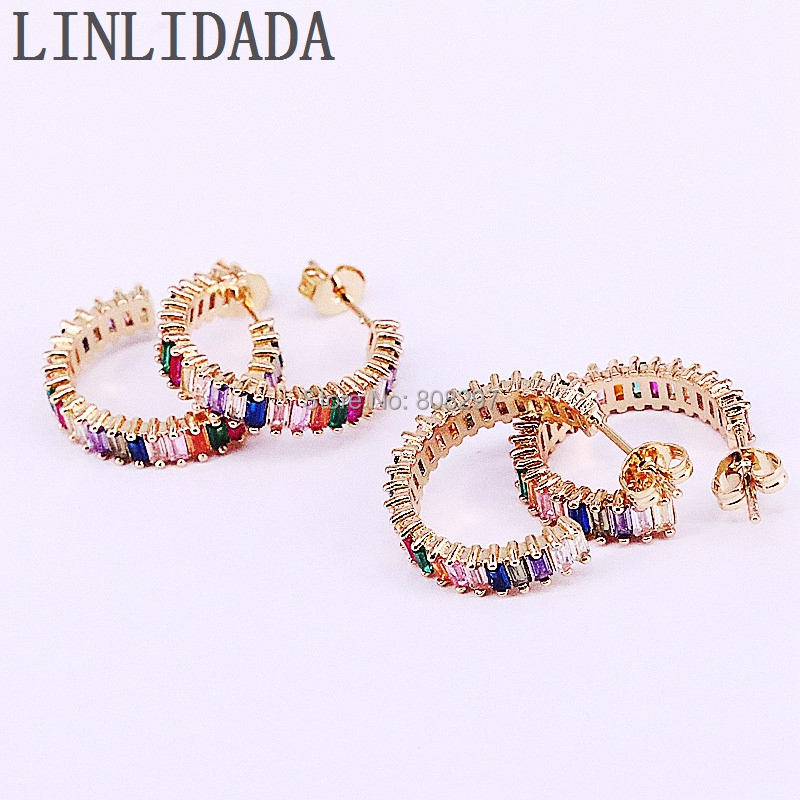 6Pair NEW Fashion Gold Color Micro Pave Multi color CZ Crystal Charm Stud Earrings for Girls