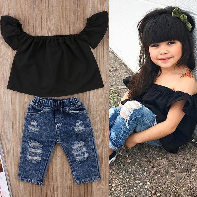 2pcs Fashion Girls Clothing Set 2019 Summer Baby Girls Clothes Black Top Ruffles+Denim Hole Pant Children Clothing Dropshipping