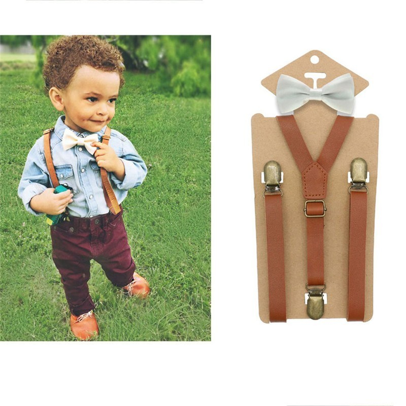 3 Clips Y Back Kid Brown Tan Leather Suspender And Bow Tie Ring Bearer Bowtie Set Birthday Outfit 80*1.5cm Adjustable