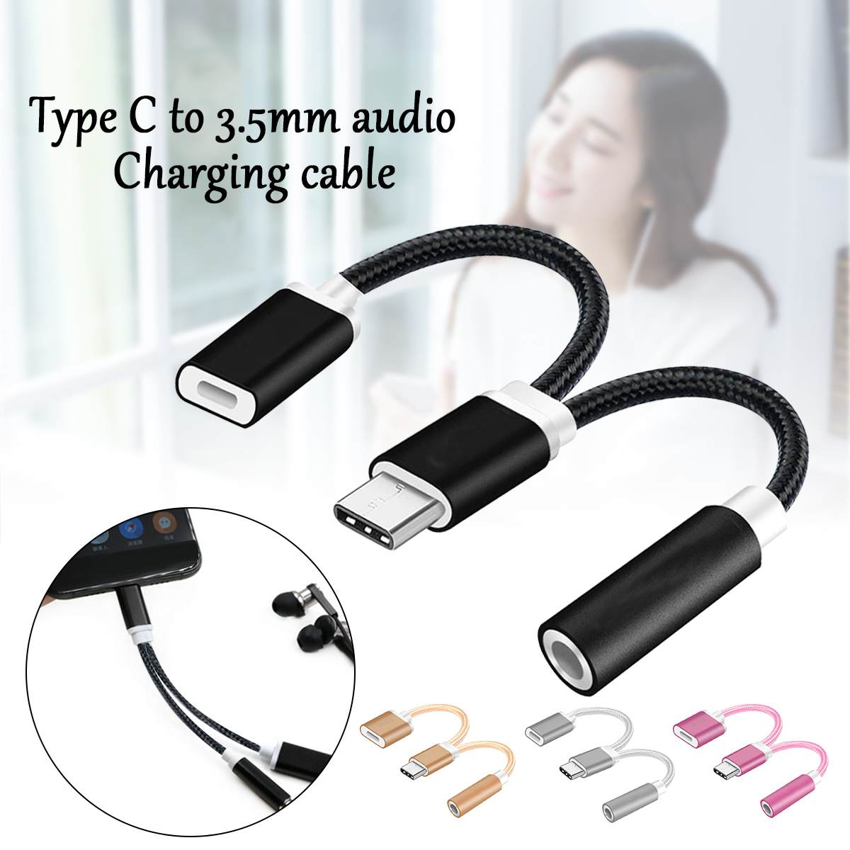 Bakeey 2 In 1 Type C To 3.5mm Audio Jack Adapter For Phone Headphone Charger Cable Headset Converter For Huawei Mate20 Xiaomi 8