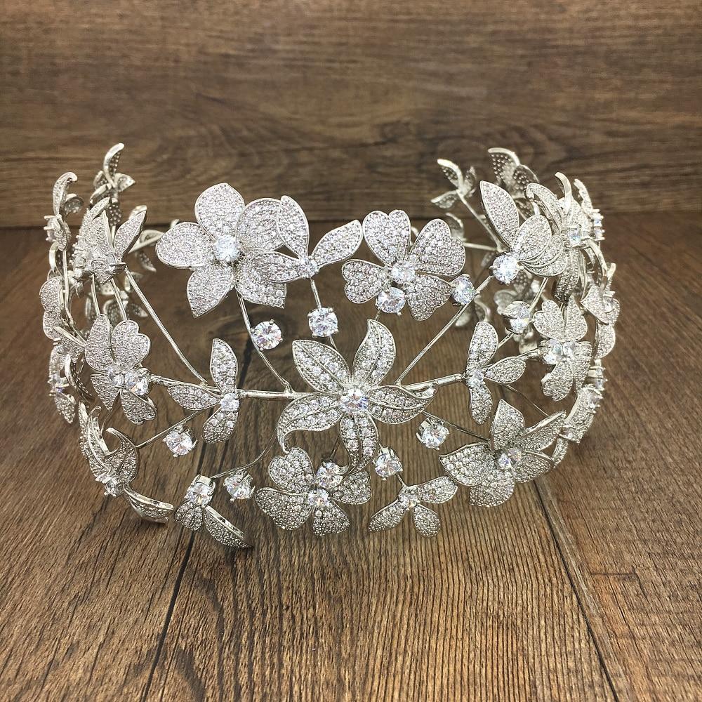 Paved Full Cubic Zircon Tiara Zirconia Flower Crown CZ Diadema Bridal Coroa Wedding Hair Accessories Bijoux