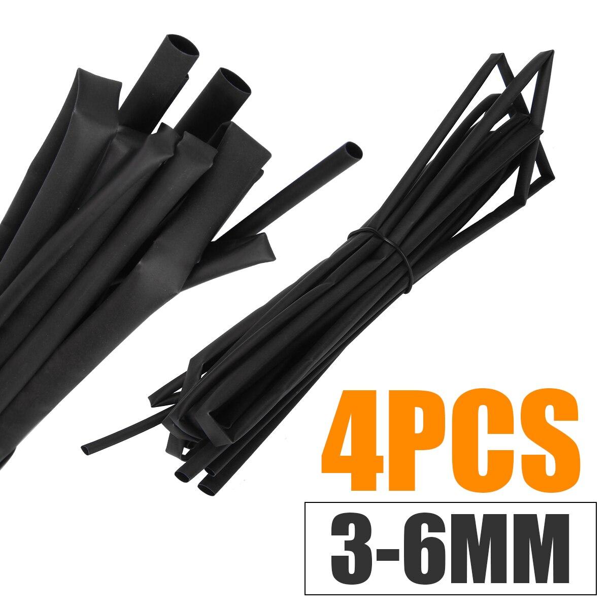 4pcs Heat Shrink Tube Sleeving Black Wrap 3mm 4mm 5mm 6mm Accessory Electrical