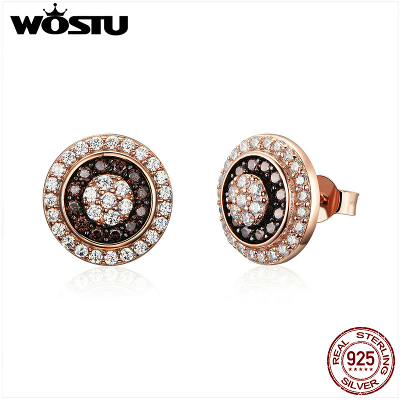 WOSTU Real 925 Sterling Silver Rose Gold Round Stud Earrings Cubic Zirconia  Women Jewelry Tiny Earings Engagement Gift CQE509  WOSTU Real 925 Sterling Silver Rose Gold Round Stud Earrings Cubic Zirconia  Women Jewelry Tiny Earings Engagement Gift CQE509
