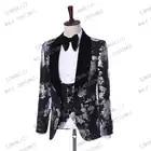 Костюм Homme 2019 новейший дизайн пальто брюки Terno Masculino Slim Fit 3 шт костюм черный принт Пейсли мужские костюмы с брюками - 2
