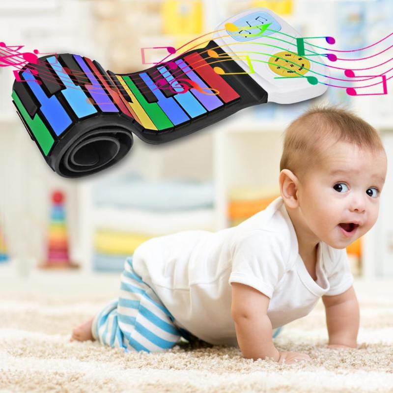 49 touches main rouleau clavier Portable souple Silicone pliable main retrousser coussin de Piano électronique avec haut-parleurs cadeau pour enfants étudiant