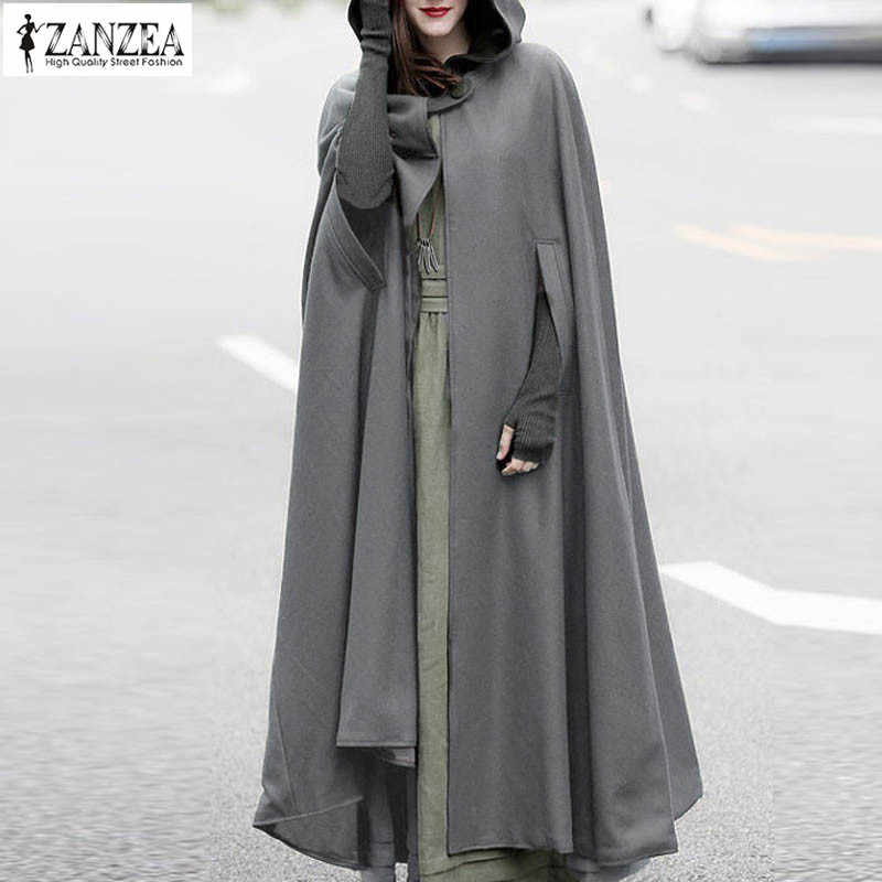 2019 Plus Size ZANZEA Autumn Batwing Party Jackets Hooded Hoodie Capes Thin Women Winter Long Coat Jacket Cloak Poncho Cardigan