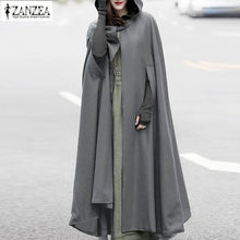 2019 Plus Size ZANZEA Herfst Batwing Party Jassen Hooded Capes Dunne Vrouwen Winter Lange Jas Jas Mantel Poncho Vest(China)