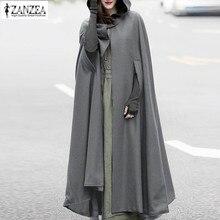 2019 Plus Size ZANZEA Autumn Batwing Party Jackets Hooded Hoodie Capes Thin Women Winter Long Coat Jacket Cloak Poncho Cardigan