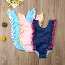 Summer Lovely Kids Baby Girls One-Piece Suits Swimsuit Solid Color Tassles Bikini Swimwear Swimmable Swimming Costume 1-6 Years