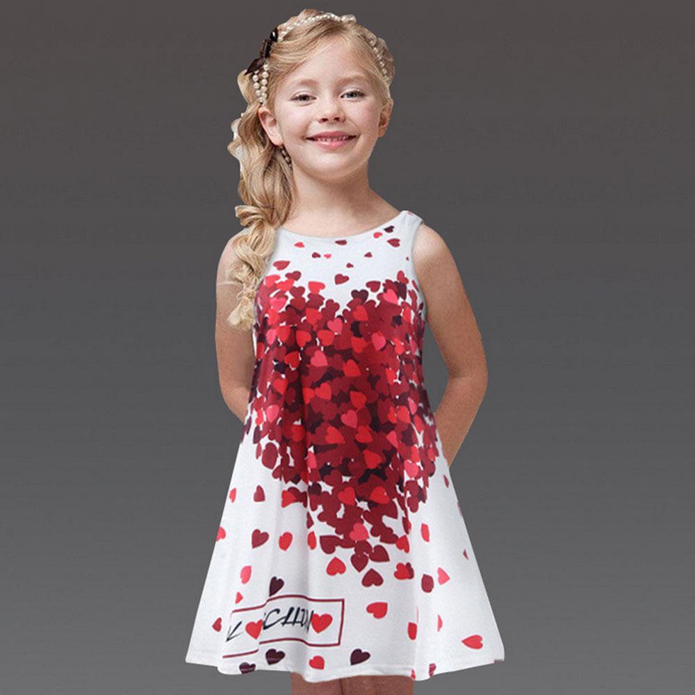 Baby girl clothes child baby children 2019 summer new dress fashion heart print Childrens dresses