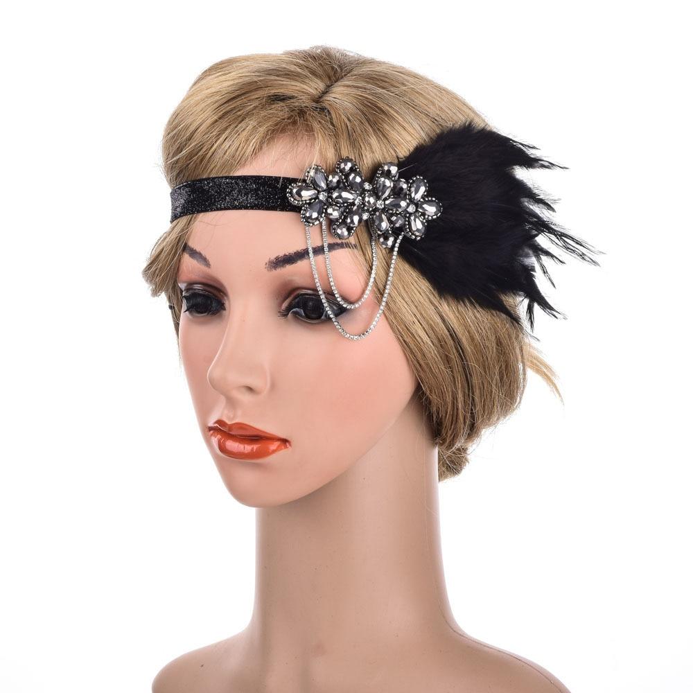 us $4.96 32% off feather headband bridal hair band women black headwear rhinestone hair accessories wedding girl 2019-in women's hair accessories from
