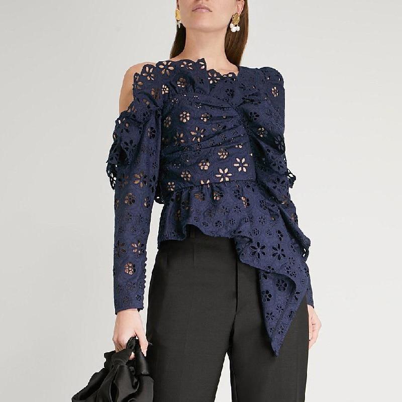 [MENKAY] Off shoulder Sexy Backless Lace Ruffle Long Sleeve Irregular Tops Women Blouse Female Shirt 2019 Summer New Fashion