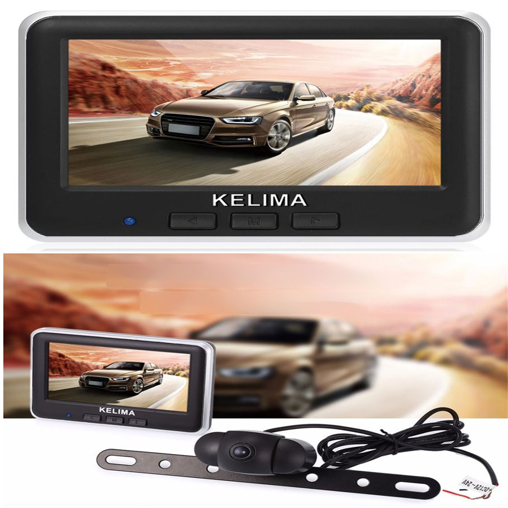 4.3'' LCD Car Rear View Monitor Wireless License Plate Backup Reverse Camera