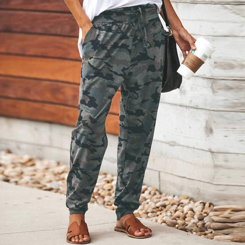 נשים גבוהה מותן הסוואה מכנסיים עניבת הדפסת צבא גבירותיי Sweatpant צבאי מכנסיים נקבה ישר המכנסיים Camo Calca Feminina