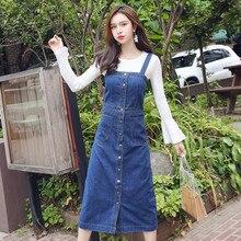 Button Denim Dress 2019 Women Spring Summer Loose Strap Jeans Dresses Sundress Denim Overall Dress Female Vestido