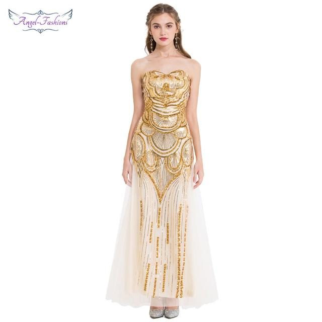 8b08f26848c Angel-fashions Women s Luxury Gold Sequin Evening Dress Long Art-Deco Sequin  Vintage Dress Formal Party Birthday Gown 186