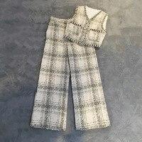 Высококачественные Женский комплект 2 шт. костюмы клетчатые брюки и топ женские топы на бретелях комплект из двух предметов длинные штаны