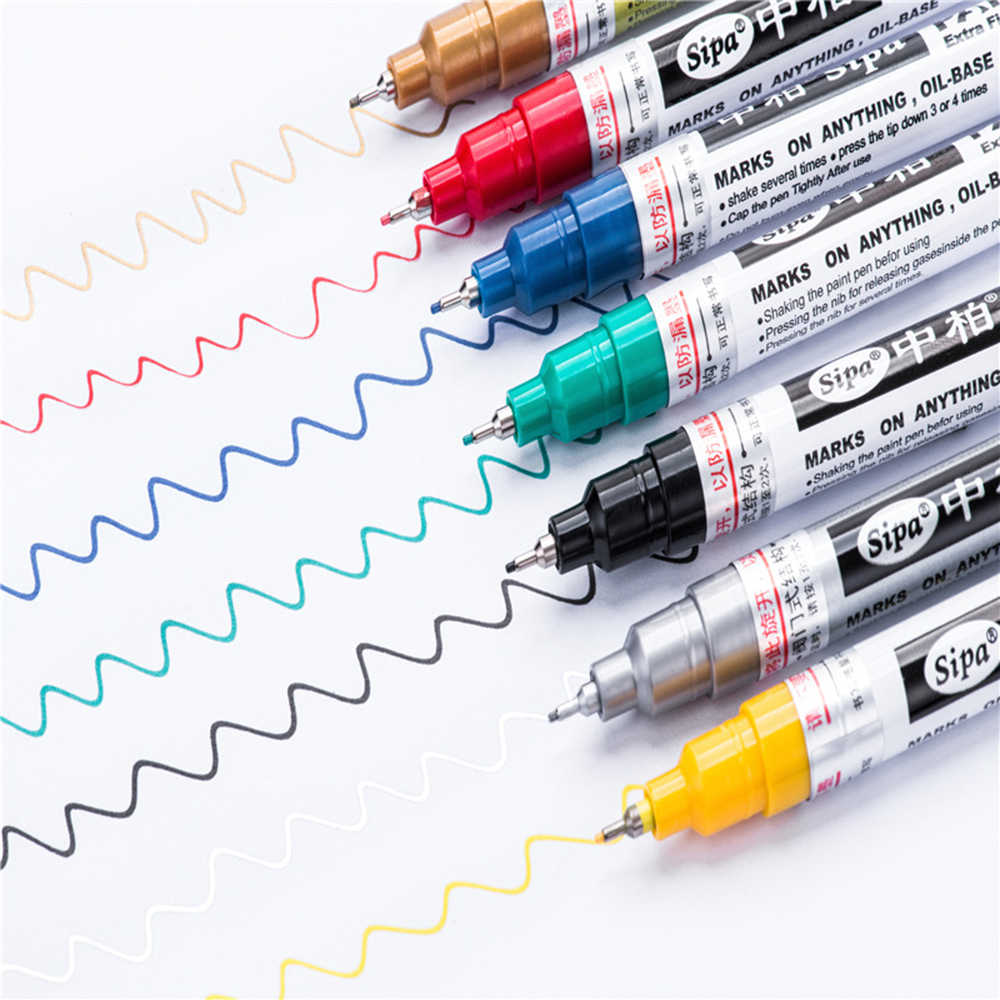 Hot Jual 0.7 Mm Extra Fine Point Paint Marker Pen Kantor Sekolah Logam Marker Cat Air Highlighter