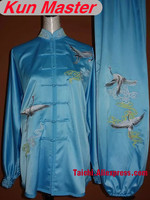 Custom Tai Chi Performance Uniform Cran Embroidery Martial Art Clothing For Kung Fu Note Height And Weight Blue Color
