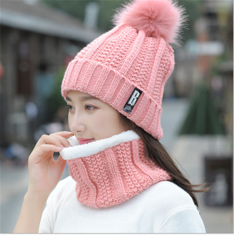 Fashion Autumn Winter Womens Hat Caps Knitted Wool Warm Scarf Thick Windproof Balaclava Multi Functional Hat Scarf Set For Women