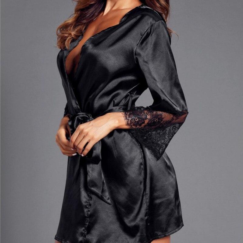 2019 Summer Silk Lace Lingerie Belt Bathrobe Women Sexy Nightwear Belt Bathrobe Nightwear Robe Womens
