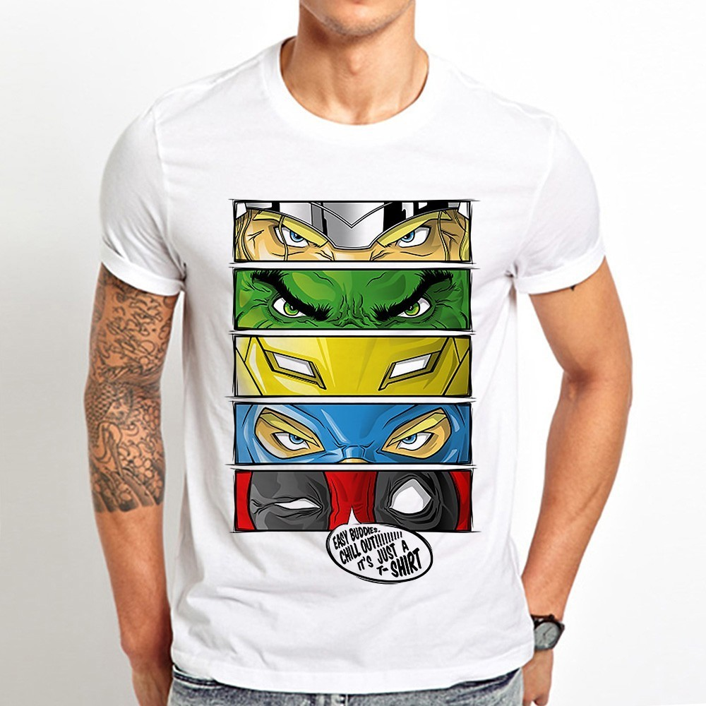 Eyes Of Avengers SuperHeroes Cool Tshirt Men Summer New White Casual Short Unisex Funny T Shirt Hulk Thor Deadpool