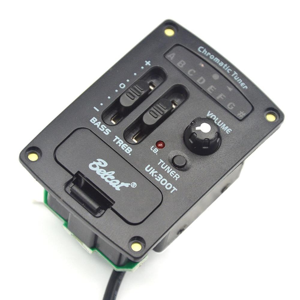 Belcat UK-300T 2 bandes EQ ukulélé pick-up avec LED chromatique accordeur 2 bandes égaliseur préampli pour ukulélé & Mini guitare