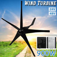 900W 24 V 48 Volt 5 Nylon Fiber Blades Horizontal Wind Turbines Generator Power Windmill Energy Charger Kit Home Black