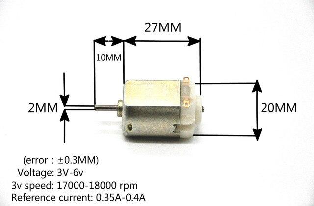 130 dc motor pequeño DC motor 3 V-6 V motor miniatura de cuatro ruedas pequeño