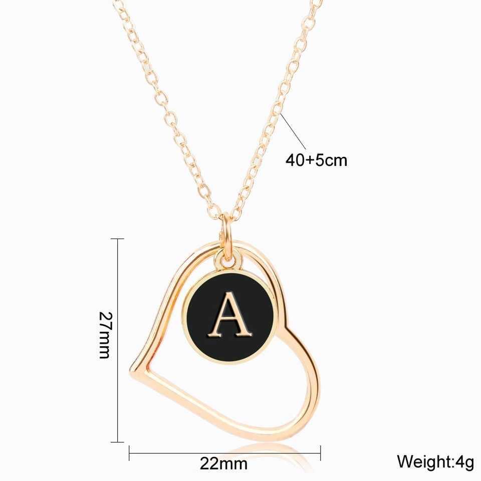 Personalise Vàng Tên Chữ Tên Viết Tắt A-Z Vòng Đeo Cổ Cho Nữ Hàn Quốc Trái Tim Tròn Rỗng Cổ & Mặt Dây Chuyền Trang Sức GIF