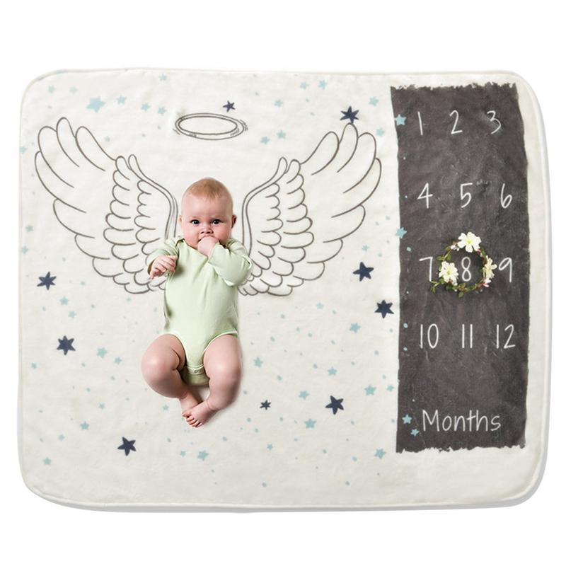 Baby Milestone Blanket Baby Photography Props Blanket Newborn 12 Monthly Photo Props Angel Wings Background Blanket For Shooting