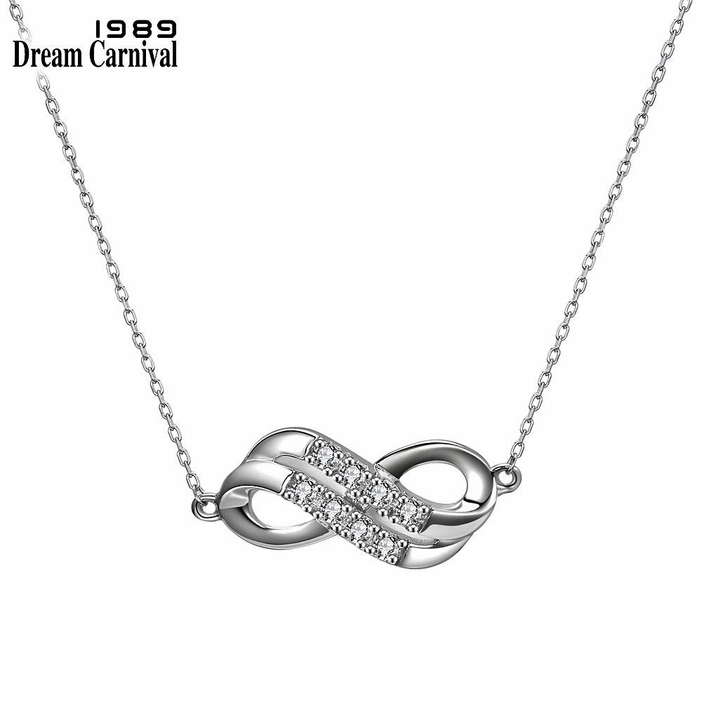 DreamCarnival 1989 New Sterling Silver 925 jewelry Infinity Design Cubic Zirconia Fashion Pendant Necklaces for Women SN02370R
