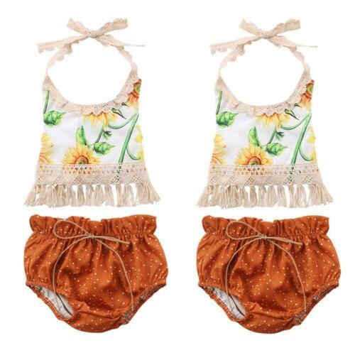 Nette Baby Mädchen Quaste Bib Outfits Sonnenblumen Ärmel Halfter T-shirt Tops + Kleinkind Gürtel Dots Shorts 2 Pcs Sommer Prinzessin Kleidung Attraktive Mode