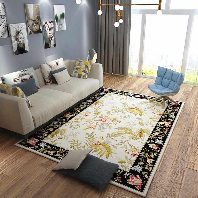 Lujo Europa Nodic flor sala de estar alfombra silla Yoga estera Jacquard sofá suelo tapetes alfombras y alfombras alfombra de área para la casa