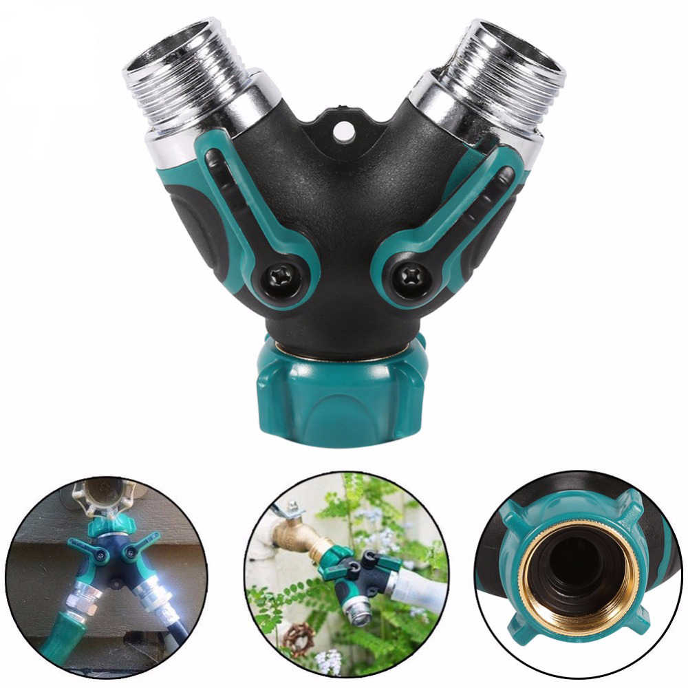 "Garden Hose Adapter Connector NPT3/4"" Garden Hose Faucet Switch On / Off Valve Pipe Fittings 2 Way Y Shunt Adapter Agriculture"