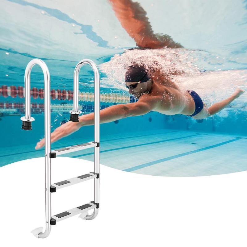 Stainless Steel Swimming Pool Ladder In-Ground Swimming Pool Equipment Anti Skid Ladder Suit 157cm 4 Step/132cm 3 StepStainless Steel Swimming Pool Ladder In-Ground Swimming Pool Equipment Anti Skid Ladder Suit 157cm 4 Step/132cm 3 Step