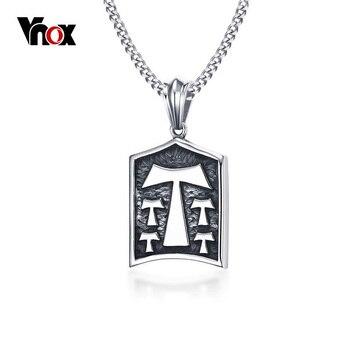 Vnox Vintage Tau Cross T Pendant Necklace for Men  Retro Stainless Steel Prayer Charm Chain Necklace 24