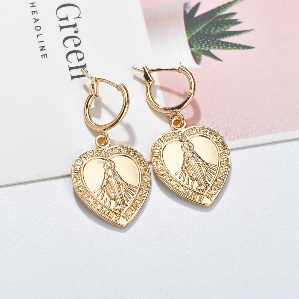 GEREIT 2019 Virgin Mary Earrings Gold Color Trendy Religious Jewelry Gifts Wholesale Drop Earrings Our Lady For Women Girls Gift