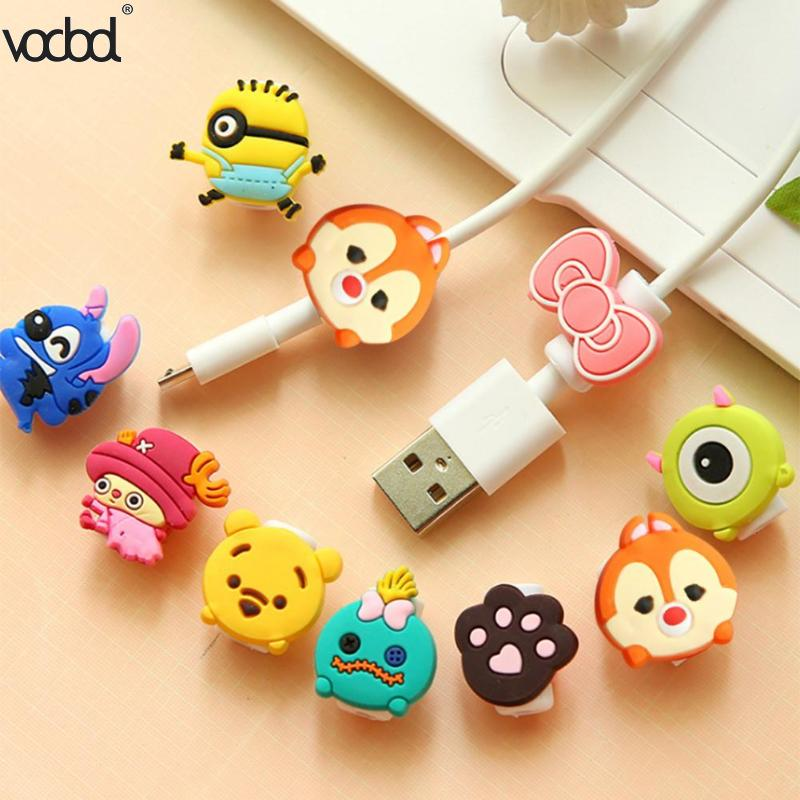 Cable Protector 1Pcs Lovely Cartoon Charger Winder Case Saver 8 Pin Data Line Protector Sleeve Cover Earphone Protection Cable