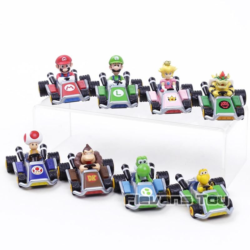 Super Mario Kart Pull Back Car Luigi Bowser Koopa Donkey Kong Princess Peach Toad Mushroom Cars Figure Toys For Kids 8pcs/set
