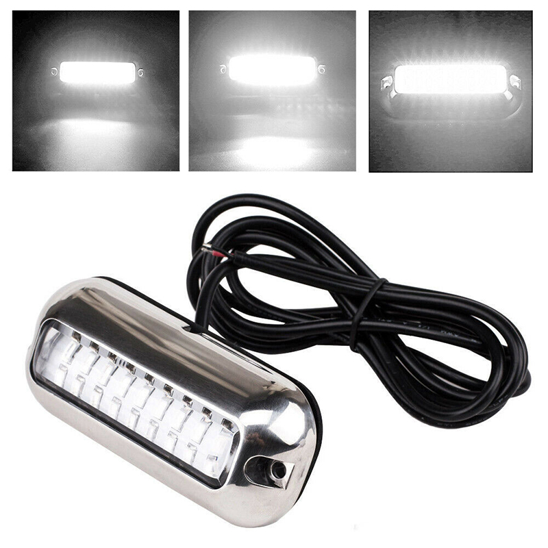 White 27LED 50W Underwater Boat Marine Transom Light 316 Stainless Steel Pontoon