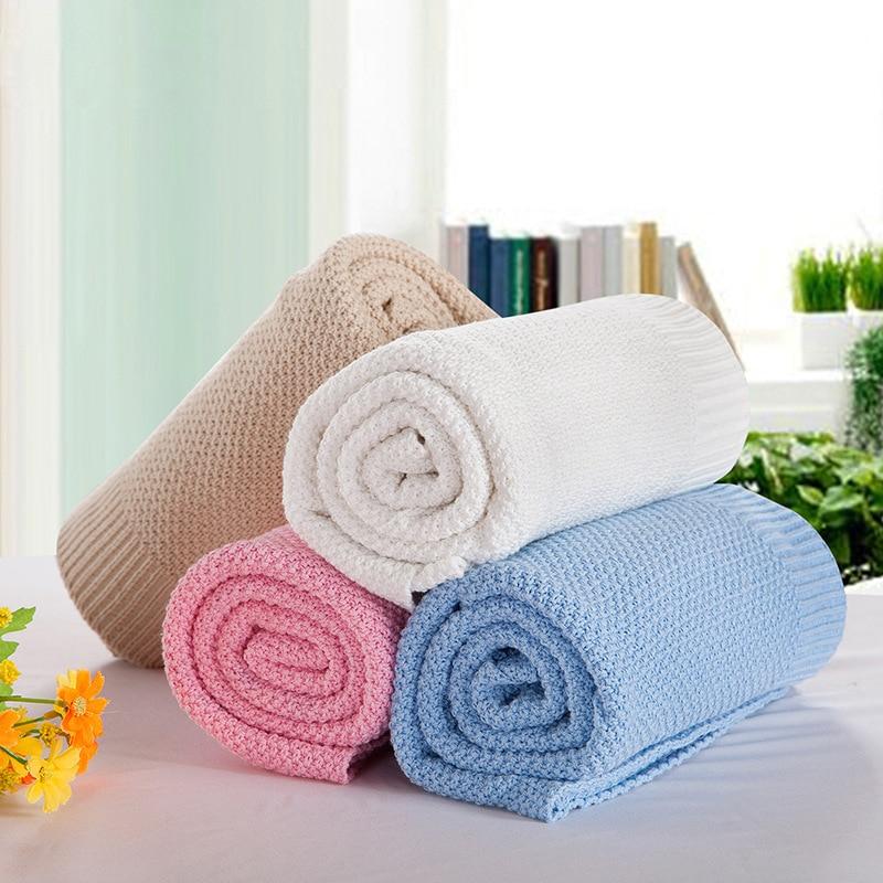 Novo estilo algodão malha verão cobertores 120*180cm adultos cor sólida 85*105cm primavera dormir colchas para crianças gift30