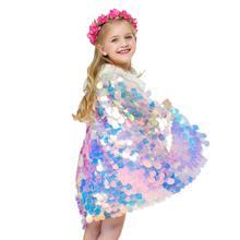Kidlove/блестящий плащ с блестками для девочек; милый плащ принцессы «Русалочка»; вечерние костюмы на Рождество и Хэллоуин