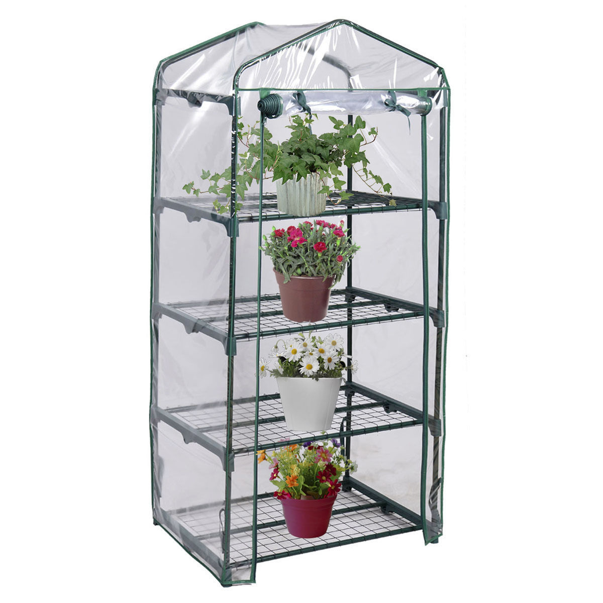 70x50x160cm Large Garden Greenhouse 4 Tier Tall Green Hot Plant House Shed Storage PVC Warm Garden