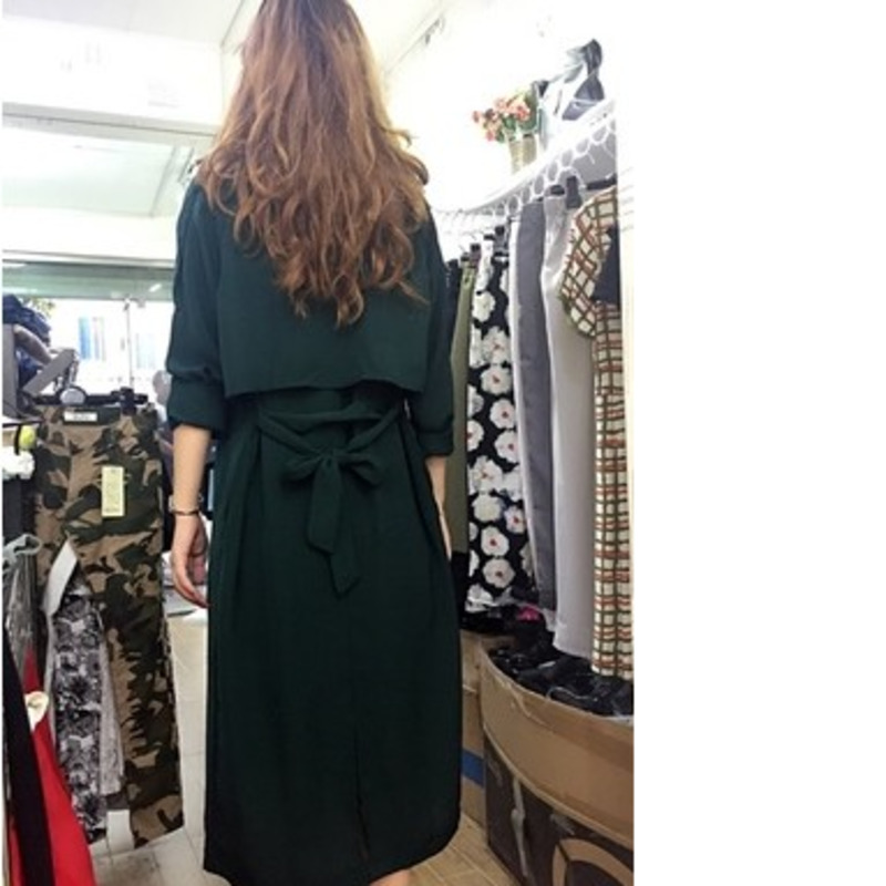 Autumn New Pattern Wind Overlength Windbreaker BF Wind Oversize Waist Easy Long Fund Green Thin Loose Coat Woman