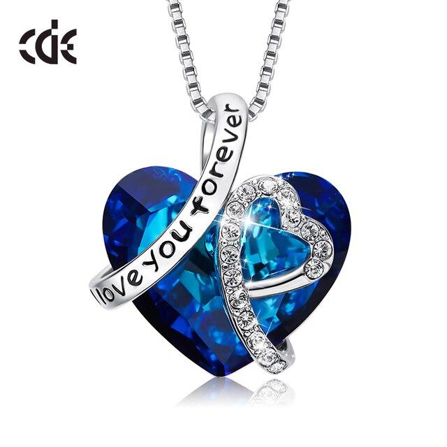 CDE colgante collar adornado con cristales de Corazón Azul Swarovski collar joyería de amor para mujeres collar de mamá
