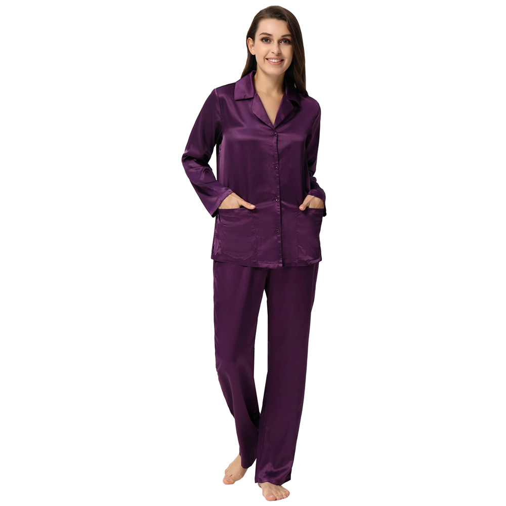 Women Satin Silk   Pajamas   Two-Piece   Pajama     Sets   Button Shirt +Pants Night Suit