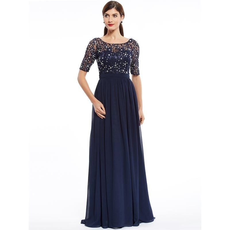 Dressv Fashion Evening Dress Cheap Dark Navy Scoop A Line Floor Length Dress Chiffon Half Sleeves Beaded Lace Long Evening Gown