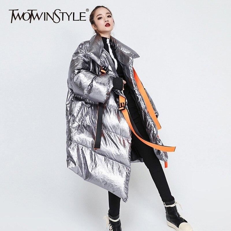 TWOTWINSTYLE ผู้หญิงฤดูหนาวลงเสื้อแขนยาว Patchwork ริบบิ้นผ้าฝ้ายที่ไม่สม่ำเสมอเสื้อโค้ทหญิง 2019 ฤดูใบไม้ร่วงฤดูใบไม้ร่วงฤดูใบไม้ร่วงฤดูใบไม้ร่วงฤดูใบไม้ร่วงฤดูใบไม้ร่วงฤดูใบไม้ร่วงฤดูใบไม้ร่วงฤดูใบไม้ร่วงหนา-ใน เสื้อกันลม จาก เสื้อผ้าสตรี บน   1